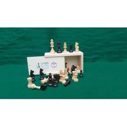 Jeu d'échecs buis N° 0 Teinté poli (Noir et Naturel)